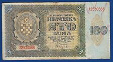 Croatian banknotes (WWII) - 100 kuna 1941 -NDH war Yugoslavia Germany Hrvatska