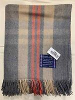 100% Wool Blanket | Tweeds Of Scotland | Fancy | Warm | Grey | Beige Stripes