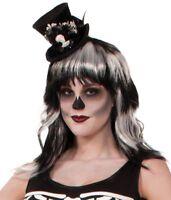 Skeleton Black Mini Cocktail Top Hat Lace Halloween Fascinator Costume Burlesque