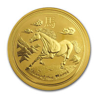 2014 1 oz Gold Lunar Year of the Horse (Series II, Abrasions) - SKU #84169