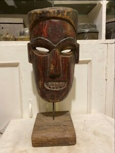 Rare Collectible Wood Nepalese Wooden Mask Antique With Stand Sculpture Statue