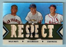 WILLIE MAYS JOE DIMAGGIO STAN MUSIAL 2012 TRIPLE THREADS GAME JERSEY BAT /27