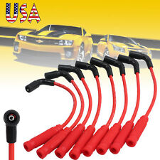 8PCS 10.5MM RED SPARK PLUG WIRES FOR CHEVY GMC TRUCK 4.8 5.3 6.0 VORTEC ENGINES