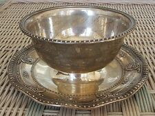 """Wallace Sterling Silver Rose Point Gravy Bowl w/Underplate - 7-1/4"""" - 4956"""