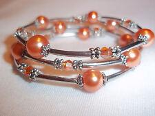 Hand Crafted Memory Wire Wrap BRACELET w/ ORANGE Glass Beads Beach Gypsy E-63