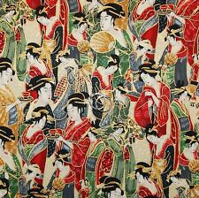 BonEful Fabric Cotton Quilt Red Green Gold Metallic Asian Geisha Girl Xmas SCRAP