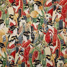BonEful Fabric FQ Cotton Quilt Red Green Gold Metallic Asian Geisha Girl Holiday