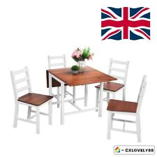 Folding Drop leaf Dining Set with Table and 4 Chairs Compact Set Kitchen-White