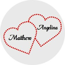 120 Personalized Double Heart Names Wedding Round Stickers Envelope Seals