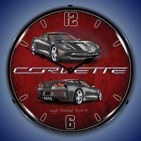 C7 Corvette LED Lighted Clock - Cyber Grey