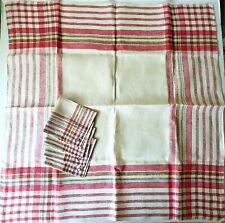 "Vintage Czechoslovakia Tablecloth & Napkin Set Red Plaid 35""Square"