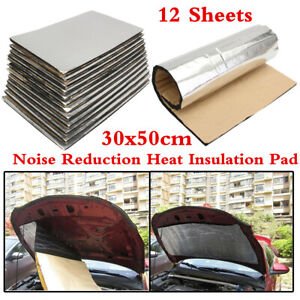 Universal 5mm Silver Sound Deadener Car Heat Shield Insulation Pad Mat 12 Sheets
