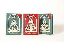 3er Set Weihnachtskarten Grußkarten-Set Weihnachtstraum mit Umschlägen Holzmotiv