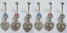 "mixed color gem belly rings 14g 7/16""  9 pc pack heart dangle rose inlayed"