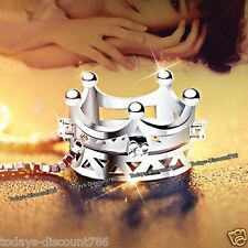 Silver Princess Crown Necklace Crystals Valentine Gift For Her Wife Couple Women