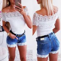 Womens Lace Casual Summer Denim Jean High Waist Ladies Beach Shorts Hot Pants