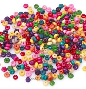 1000 Mixed Holzperlen Speichelfest Spacer Beads DIY Schmuck Basteln 4mm