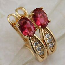 Elegant Classy Ruby Red Gems Jewelry Yellow Gold Filled Huggie Earrings h2862