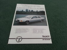 Late 1980 / 1981 TALBOT TAGORA 2.2 / 2.6 V6 UK PRE LAUNCH SINGLE SHEET BROCHURE