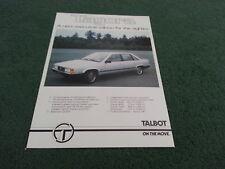 Late 1980 / 1981 TALBOT TAGORA 2.2 / 2.6 V6 UK PRE LAUNCH SINGLE SHEET BROCHURE