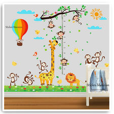 Animal Height Chart Wall Stickers Monkey Giraffe Jungle Nursery Baby Room Decal
