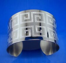 "Stainless Steel Greek Key Wide Cuff Bangle, 1.5"" Wide, 7"" Wrist Size"