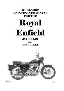 ROYAL ENFIELD 350 500 BULLET 1989 - 2007 SERVICE WORKSHOP REPAIR MANUAL REPRINT