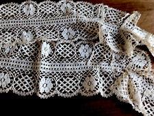 "More details for antique / vintage maltese cream lace scarf or dress trim 54x4.5"""