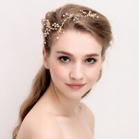 Retro Gold Flower Vine Headband Tiara Wedding Bride Headpiece Hair Accessory