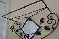Vintage Wrought Iron Hanging Coat Hat Hall Rack Mirror Shelf Leaves Scrolls 26""