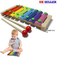 UK 8 Notes Wooden Kids Metal Xylophone Glockenspiel Musical Instrument Toy Music