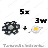 5X Chip led 3W bianco freddo 600mA 3V 3.6V dissipatore alluminio lampadina bulb