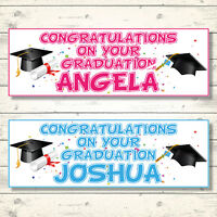 2 PERSONALISED CONGRATULATIONS ON YOUR GRADUATION BANNERS - BOY - GIRL