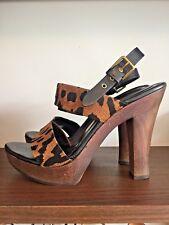 YSL YVES SAINT LAURENT Leopard Animal Print Sandals Heels Platform Clogs 39