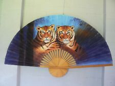 "TIGERS - Extra Large 60"" Inch HAND PAINTED ASIAN WALL FAN 151cm x 90cm."