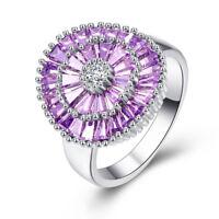 Beautiful Flower Amethyst & White Topaz Gemstone Silver Ring Size 6 7 8 9 Gifts