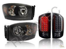 07 08 Dodge Ram 1500 2500 3500 Pickup Black Headlights + LED Tail Lights Lamps