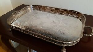 Silver Plate On Copper Elaborate Serving Tray