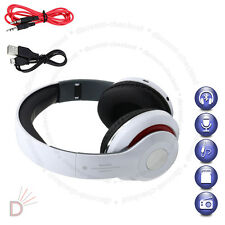 Foldable Wireless Bluetooth Headset Stereo White Headphone Built-In Radio UKDC