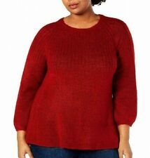 Style & Co. Womens Sweater Red 3X Plus Ribbed Knit Bishop Sleeve Tunic $56 200