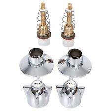 Shower / Bath / Kitchen Tap Spindle Set With Chrome Tap Handles & Chrome Flanges