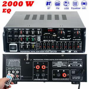 Sunbuck 110V 2000W EQ Stereo Power Amplifier Home audio 2Ch USB AMP RACK FM DJ