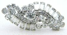 Vintage Large Silver Tone Clear Rhinestone Art Deco Style Infinity Pin Brooch