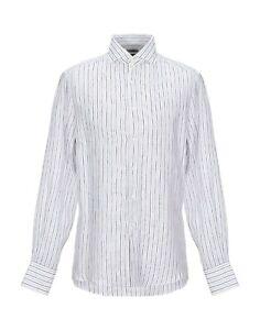Brunello Cucinelli Men's Linen Dress Shirt Flax Slim Fit Stripe XXL