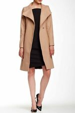 Ted Baker London Nevia Beige Long Wool Belted Wrap Coat Size 4 Ted 10 US NWT