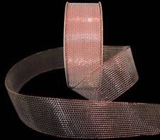 """5 Yards SALE Copper Mesh Metallic Ribbon 1 1/2""""W"""