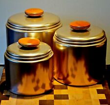 Vintage Mirro Aluminum Kitchen 3 piece Canister Set Copper Tone Wood Knobs NICE