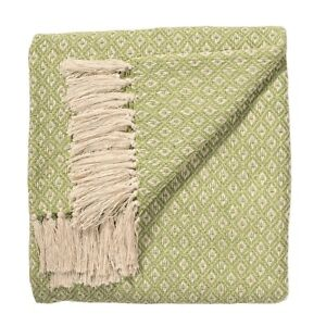 Sage Green Diamond Weave Soft Cotton Handloom Blanket Throw 180cm x 130cm.
