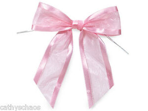 12 Baby Pink Organza Bows Twist Ties Party Crafts Gifts Holiday Valentine's Day