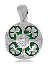 925 solid Sterling Silver Irish Locket with heart Shamrock Triquetra necklace